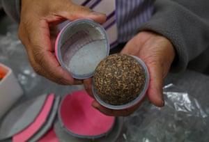 The cork interior of a cricket ball