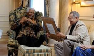 Old comrades: Lionel Morrison with Nelson Mandela.