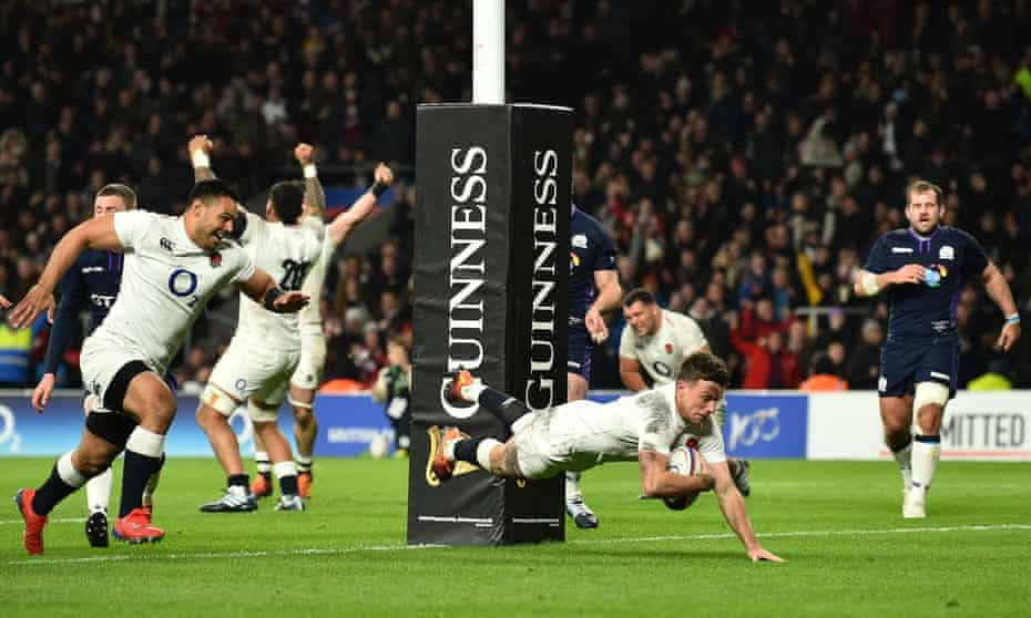 George Ford dives over the line in the dying moments of England's Six Nations match against Scotland at Twickenham in March 2019.