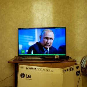 Vladmir Putin on the he TV screen in my grandmother's bedroom