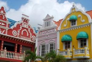 Dutch gabled houses in the Aruba capital, Oranjestad