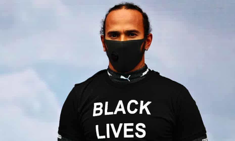 Lewis Hamilton wears a Black Lives Matter T-shirt on the grid before the Hungarian Grand Prix on 19 July 2020