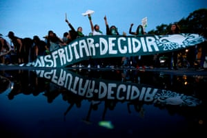 Activists supporting legalisation of abortion in Mexico march in Guadalajara in September