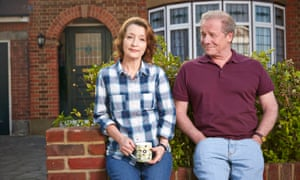 Lesley Manville as Cathy and Peter Mullan as Michael, in Mum.