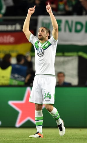 Ricardo Ricardo Rodriguez points to the sky after scoring for Wolfsburg against Real Madrid in April 2016.