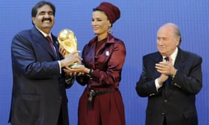 Flashback to 2010: the former emir of Qatar Hamad bin Khalifa Al Thani and his wife Moza bint Nasser Al Missned receive the World Cup trophy from then Fifa president Sepp Blatter after the official announcement that Qatar would host the 2022 World Cup.
