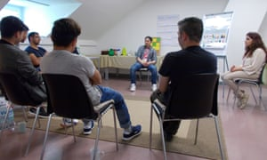 The group therapy session led by a psychosocial peer counsellor in Schweinfurt, part of an MSF pilot project to provide mental health services to new arrivals in Germany.