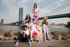 The stars of film Skate Kitchen are photographed in Dumbo, Brooklyn.