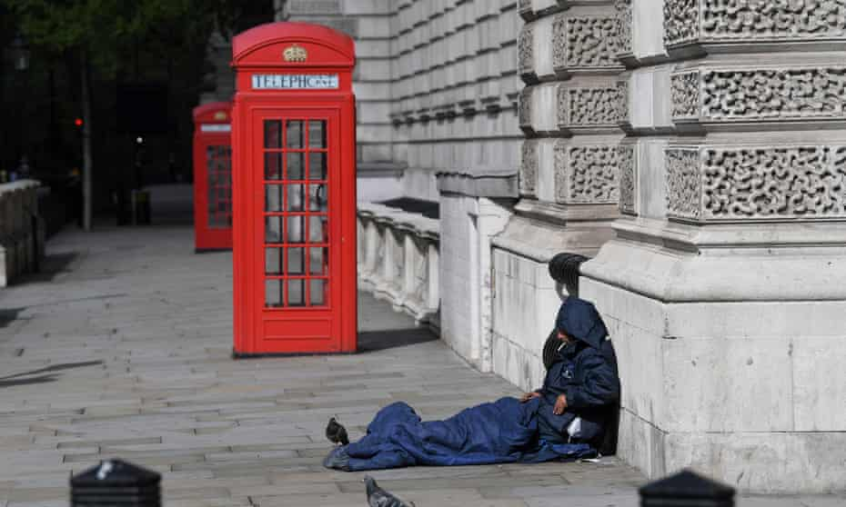 A homeless person in Parliament Square during the Covid-19 outbreak