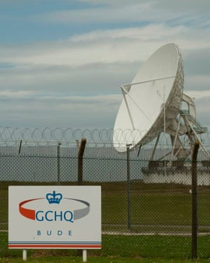 satellite dish at GCHQ centre in Bude