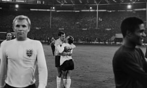 Stiles and Gordon Banks celebrate England's 2-1 victory over Portugal in the semi-final