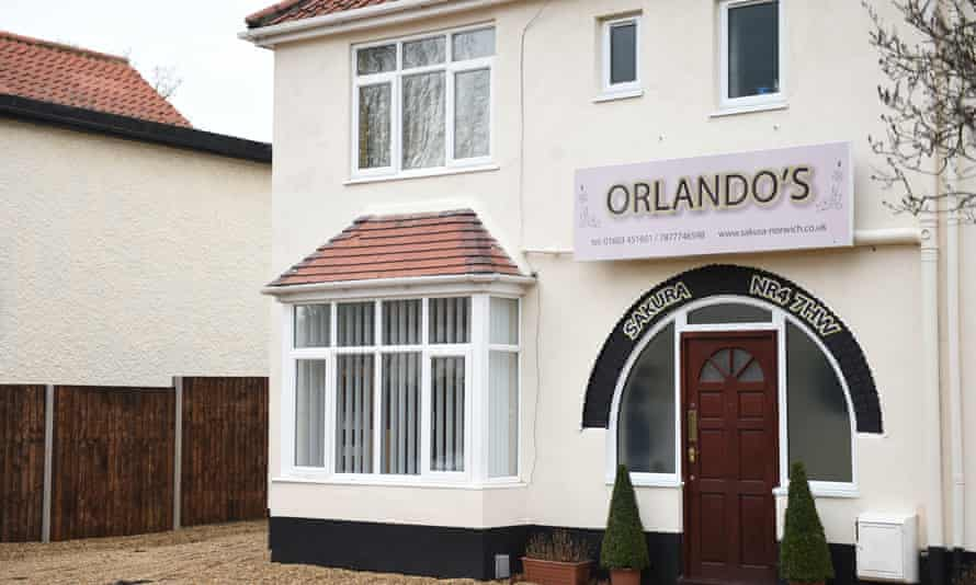 The property on Earlham Road in Norwich, with an illuminated sign reading 'Orlando's' above the front door