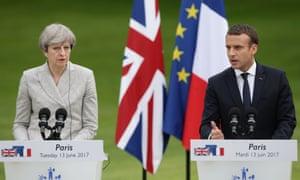 Theresa May and Emmanuel Macron.