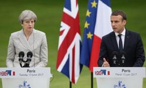 Theresa May and Emmanuel Macron at the Elysée Palace.
