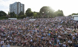 Fans packed the hill opposite the big screen to watch Johanna Konta take on France's Caroline Garcia on Monday.