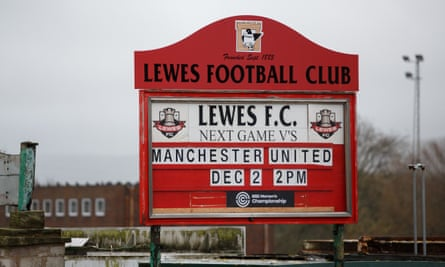 Lewes FC advertise their next game at The Dripping Pan.