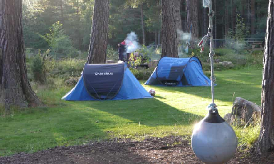Lazy Duck camping, blue tents, Cairngorms.