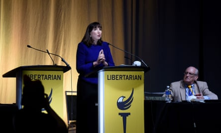 Jo Jorgensen, the 2020 presidential nominee of the Libertarian party, gives her acceptance speech during the 2020 Libertarian National Convention.