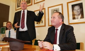 Nigel Scullion, Warren Truss and Barnaby Joyce at of the National party leadership ballot.
