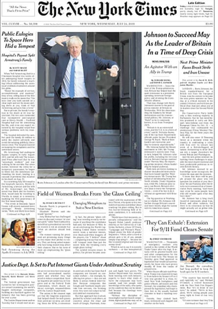 Boris Johnson is the lead story of The New York Times newspaper, 24 July 2019.