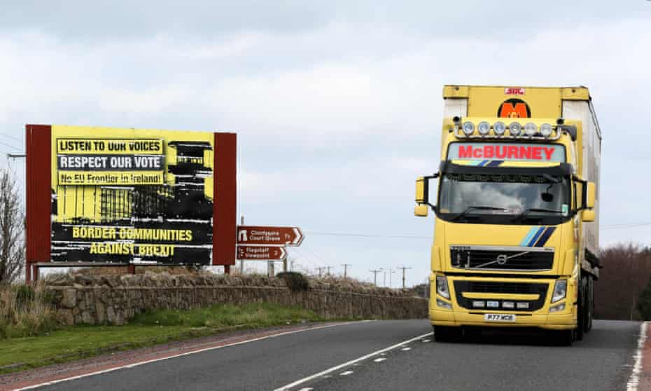 A lorry crossing the border between Ireland and Northern Ireland