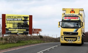 A lorry crosses the border between Ireland and Northern Ireland.