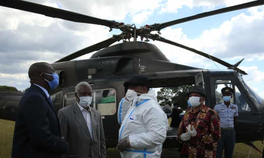 Vice-president Constantino Chiwenga visits a Covid-19 isolation facility in Marondera, Zimbabwe, last week.
