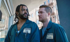 Daveed Diggs, left, and Rafael Casal in a scene from Blindspotting.