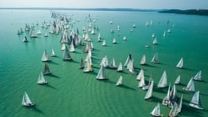 Lake Balaton, Hungary. Participating boats begin the 50th Kék Szalag (blue ribbon) round-the-lake yacht race. The oldest race of its kind takes place 75 miles south-west of Budapest.