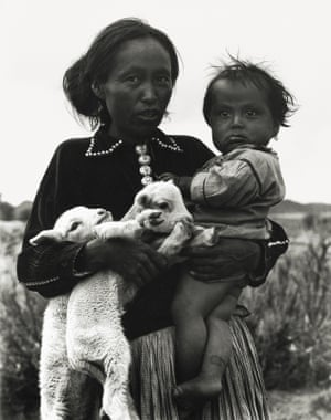 Woman, with Child and Lambs, 1932Laura Gilpin is best known for her photographs of Native Americans, such as this shot of a Navajo woman