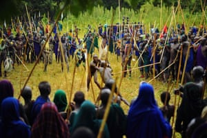 Men from the Suri tribe take part in a 'Donga' or stick fight near Kibish