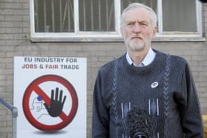 Britain's opposition Labour Party leader Jeremy Corbyn visiting the Tata Steel Sports and Social Club in Port Talbot last night.