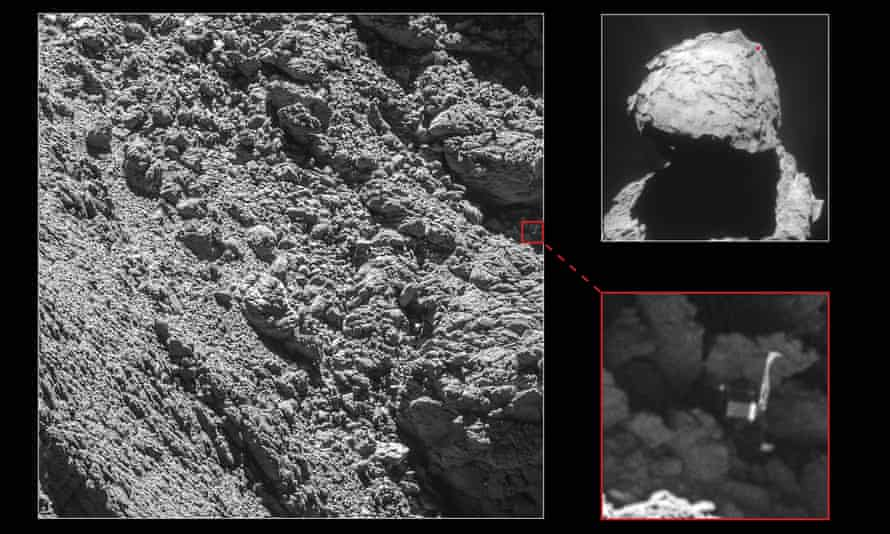 """This composite photo shows the lost Philae lander (bottom right), found wedged in a """"dark crack"""" on the side of comet 67P."""