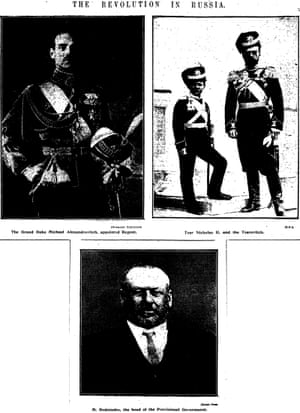 Grand Duke Michael, here named regent rather than as the new Tsar, Tsar Nicholas II and his son Alexei and Mikhail Rodzianko, head of the provisional government, published on page 6 of the Manchester Guardian 16 March 1917