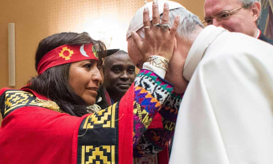 Pope Francis in Rome last week when he said indigenous peoples have the right to 'prior and informed consent' regarding their lands and territories.