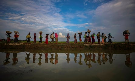 Rohingya refugees walk alongside paddy fields after fleeing from Myanmar into Palang Khali, Bangladesh, November 2017