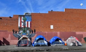 Homeless tents in Los Angeles. Trump's tweets about homelessness have been labeled 'vile and reprehensible' by activists.