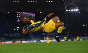 Olivier Ntcham celebrates scoring in stoppage time for Celtic in their 2-1 Europa League victory at Lazio.