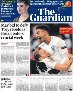Guardian front page, Monday 19 November 2018