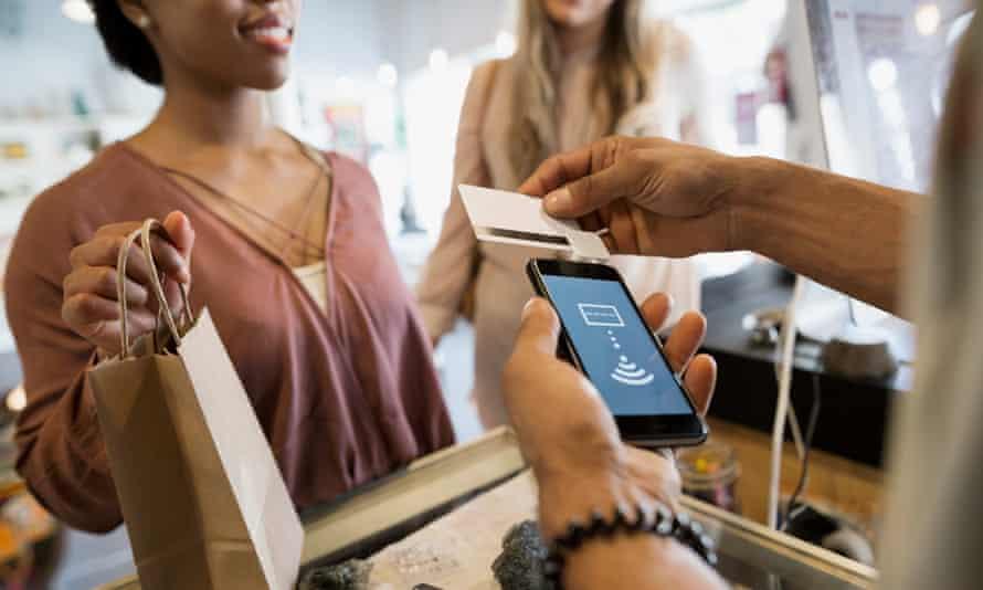 Customers using contactless debit card