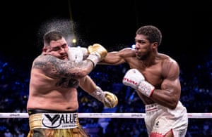 Anthony Joshua punches Andy Ruiz Jr during the world heavyweight title fight.