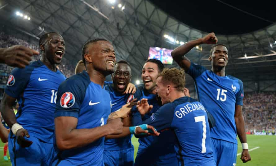 Patrice Evra, aged 35, played a pivotal role in helping France to the Euro 2016 final alongside Paul Pogba (right).