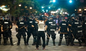 The demonstrations began peacefully but turned quickly when police in riot gear arrived.