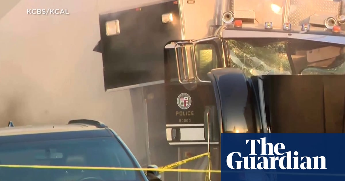 Los Angeles police injure 17 and flip cars after illegal firework detonation fails – video