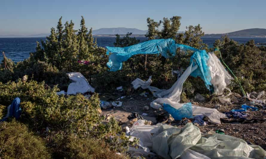 An abandoned campsite used by migrants and refugees in the Turkish coastal town of Cesme