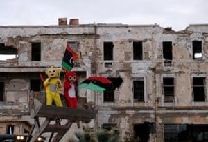 Boys celebrate the revolution in Benghazi.