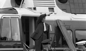 Richard Nixon leaves the White House on the day of his resignation, 9 August 1974.