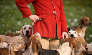 Hunter surrounded by hounds
