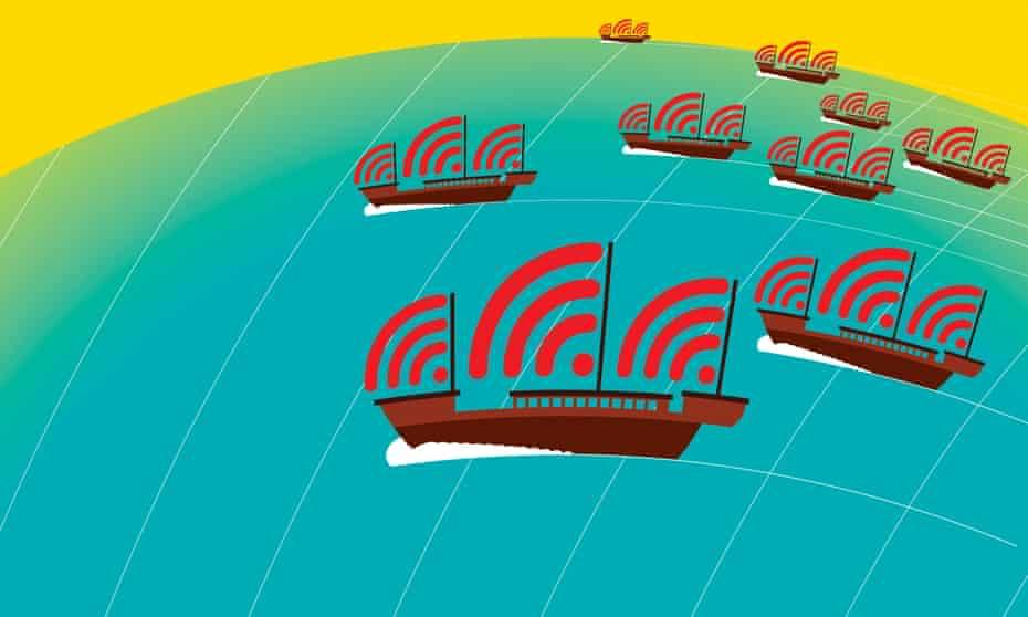 china media boats illustration