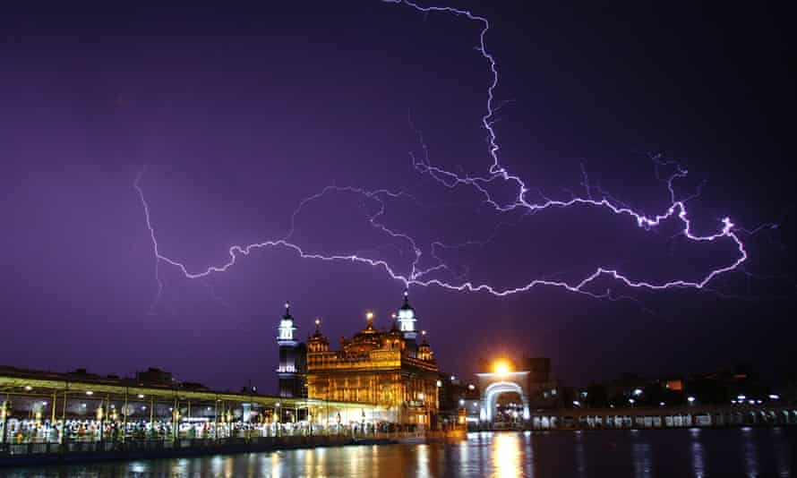 Lightning over the golden temple in Amritsar during storms in April